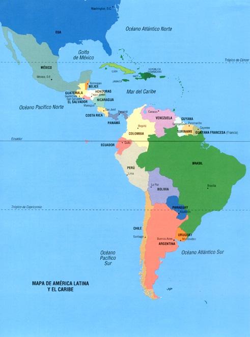 Mapa del continente americano division politica - Imagui